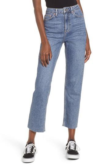 Petite Women's Topshop Raw Hem Straight Leg Jeans W X 30l (fits Like 24w) X - Blue