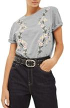 Women's Topshop Floral Embroidered Tee Us (fits Like 0) - Grey