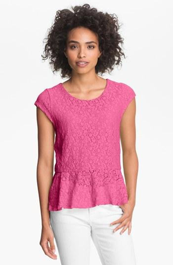Vince Camuto Cap Sleeve Lace Peplum Top Gypsy Pink