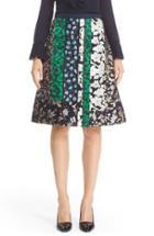 Women's Oscar De La Renta Satin & Jacquard Patchwork Skirt