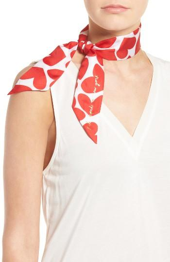Women's Kate Spade New York Heart To Heart Skinny Silk Scarf