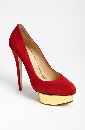 Charlotte Olympia 'dolly' Platform Pump Red/ Gold 37.5 Eu