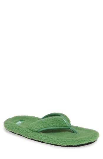 Men's Sanuk Furreal Faux Shearling Flip Flop M - Green