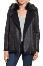 Women's Nvlt Faux Suede Moto Jacket With Faux Fur Collar