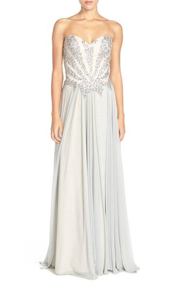 Women's Glamour By Terani Couture Embellished Chiffon Strapless Gown