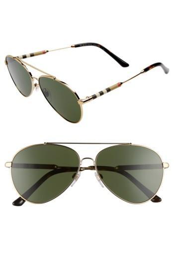 Women's Burberry 57mm Aviator Sunglasses - Gold/ Green