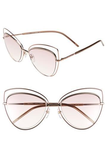 Women's Marc Jacobs 56mm Cat Eye Sunglasses - Gold Copper