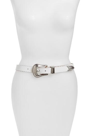 Women's Another Line Skinny Western Belt - White