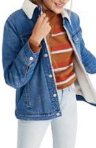 Women's Madewell Oversize Faux Fur Jean Jacket - Blue