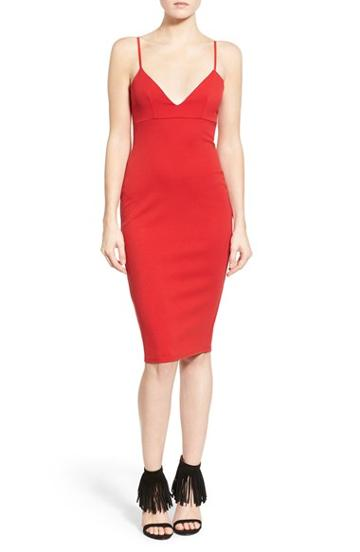 Women's Missguided V-neck Body-con Dress Us / 6 Uk - Red
