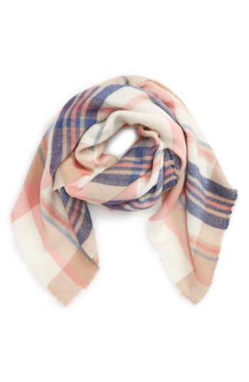 Women's David & Young Plaid Scarf, Size - Pink