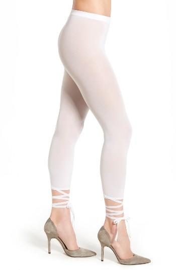 Women's Wolford Lace-up Footless Tights - White