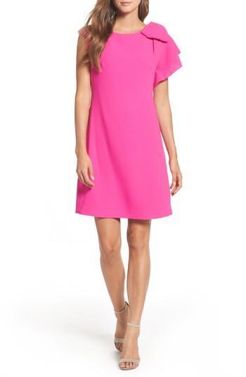 Petite Women's Eliza J Ruffle Sleeve Shift Dress P - Pink