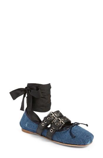 Women's Miu Miu Lace-up Ballerina Flat .5us / 35.5eu - Blue