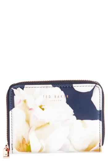 Women's Ted Baker London Small Kirsty Gardenia Zip Around Leather Wallet - Blue