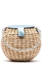 Frances Valentine Mini Straw Bucket Bag - Beige
