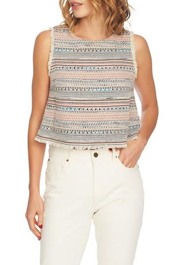 Women's 1.state Frayed Edge Tweed Top, Size - Ivory