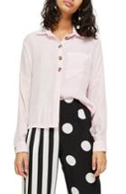Women's Topshop Woven Shirt Us (fits Like 0) - Pink