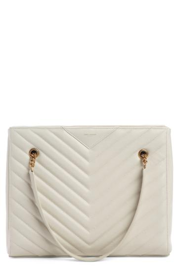 Saint Laurent Jumbo Tribeca Quilted Calfskin Leather Tote - White