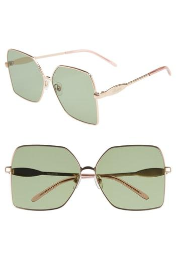 Women's Wildfox Coronado 62mm Oversize Square Sunglasses - Rose Gold/ Bottle Green Solid