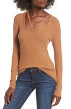 Women's Bp. Strappy Ribbed Top, Size - Brown