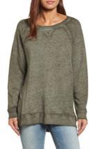 Petite Women's Caslon Burnout Sweatshirt P - Green
