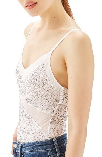 Women's Topshop Glitter Mesh Bodysuit Us (fits Like 0) - White