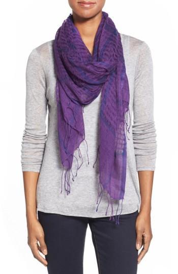Women's Eileen Fisher Airy Linen Blend Scarf, Size - Purple