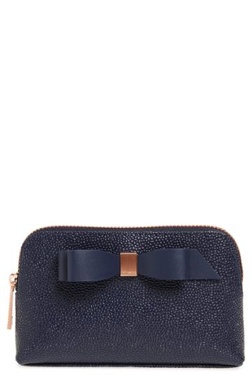 Ted Baker London Emmahh Bow Small Leather Cosmetics Case, Size - Navy