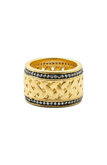 Women's Freida Rothman Textured Ornaments Wide Band Ring