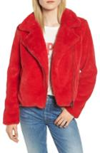Women's Rebecca Minkoff Henderson Faux Fur Moto Jacket - Red