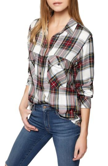 Petite Women's Sanctuary Plaid Boyfriend Shirt P - White