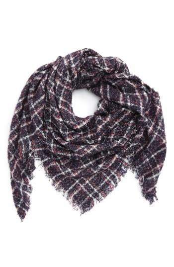 Women's David & Young Boucle Plaid Triangle Scarf, Size - Blue
