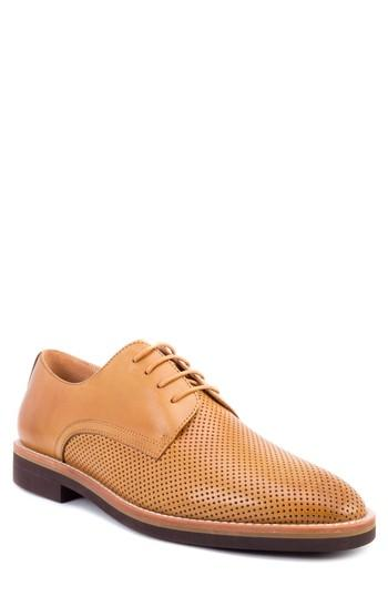 Men's Zanzara Hartung Perforated Plain Toe Derby M - Brown