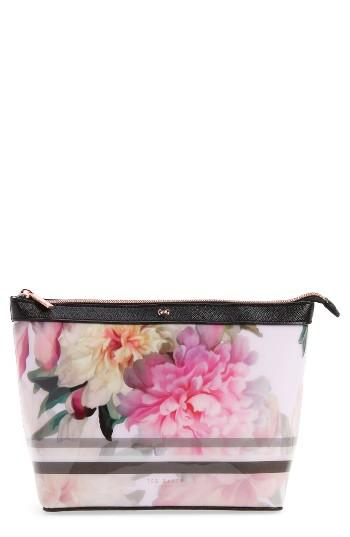 Ted Baker London Magda Floral Print Large Pouch, Size - Baby Pink
