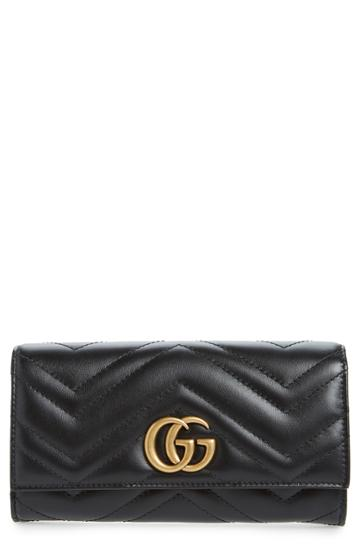 Women's Gucci Marmont 2.0 Leather Continental Wallet - Black