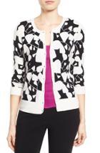 Petite Women's Halogen Three Quarter Sleeve Cardigan, Size P - Black