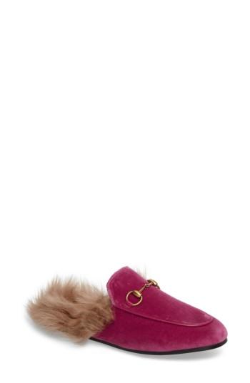 Women's Gucci 'princetown' Genuine Shearling Mule Loafer Us / 36eu - Pink