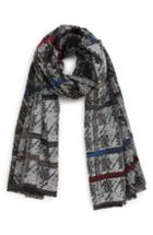 Women's Bp. Stripe Houndstooth Scarf, Size - Black