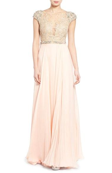 Women's Mac Duggal 'gladys' Embellished Gown - Pink