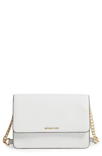 Michael Michael Kors Large Daniela Leather Crossbody Bag - White