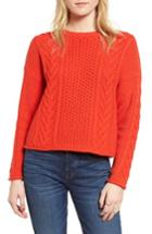 Women's Madewell Cable Knit Pullover Sweater - Red