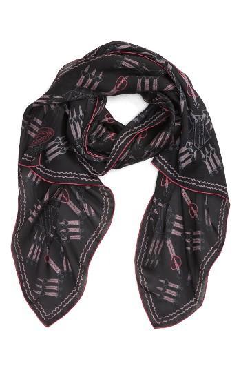 Women's Valentino Loveblade Silk Scarf, Size - Black