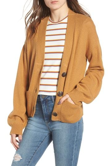 Women's Bp. Shrunken Boyfriend Cardigan, Size - Brown
