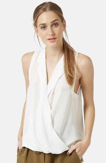 Women's Topshop Sleeveless Drape Blouse, Size 12 (14 Us) -