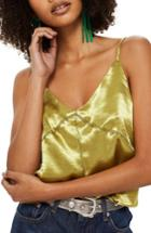Women's Topshop Contrast Stitch Camisole Us (fits Like 0) - Yellow