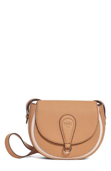 Fendi Messenger Selleria Leather Shoulder Bag - Beige