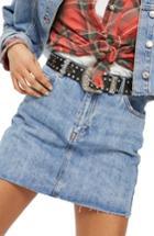 Petite Women's Topshop Moto Denim Miniskirt P Us (fits Like 00p) - Blue