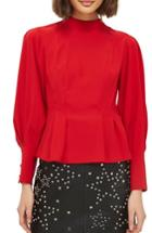 Women's Topshop Tuck Waist Blouse Us (fits Like 0) - Red