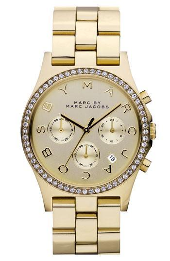 Marc By Marc Jacobs 'henry' Chronograph & Crystal Topring Watch,